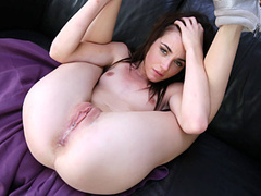 Teen chick is excitingly moaning on top of hard big dick