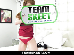 Cute teen strips and fucks at front of the camera