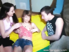 Brunette bisexual chick is helping guy to fuck young blonde
