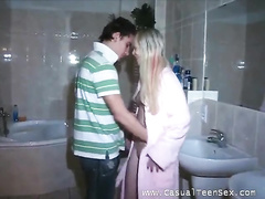 Blonde enjoys awesome fuck in bathroom with boyfriend