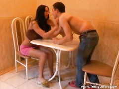 Teen chick with long black hair Amanda is exciting from cunnilingus and fucking on the table