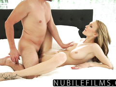 Exciting hot blonde pleases her fucker with awesome blowjob