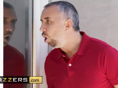 Wonderful chick Britney Amber sucks Keiran Lee's uncut cock and fucks him