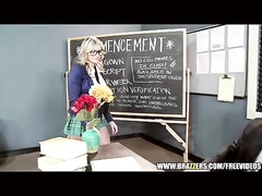 Blonde student babe with sexy glasses is hotly fucking her strong muscled teacher