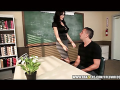 Hot brunette teacher got seduced and fucked hard in her office