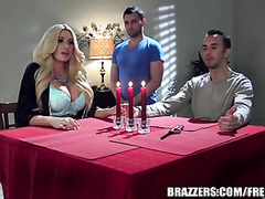 Big tits chick is fucking hard with romantic boyfriend on dining table