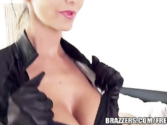 Brunette slut in black catsuit sucks big dick and enjoys hardcore fuck